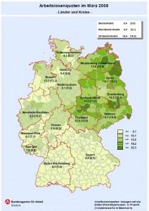 Arbeitslosenquoten Deutschland, geografische Verteilung