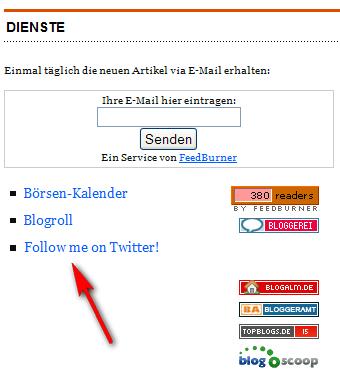 Twitter button in der Sidebar